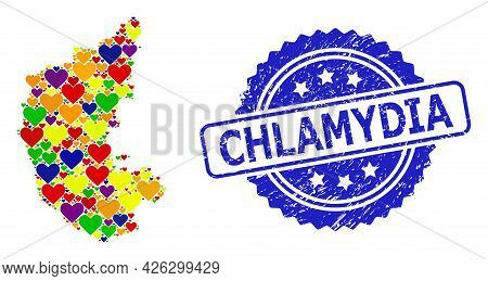 Blue Rosette Scratched Seal With Chlamydia Title. Vector Mosaic Lgbt Map Of Karnataka State With Lov