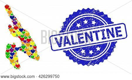 Blue Rosette Distress Watermark With Valentine Text. Vector Mosaic Lgbt Map Of Koh Phi Don With Love
