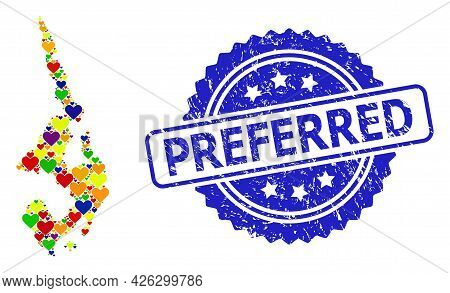 Blue Rosette Distress Seal Imprint With Preferred Message. Vector Mosaic Lgbt Map Of Koh Phi Leh Wit