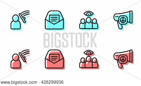 Set Line Spy, Agent, Police Beat Human, Mail And E-mail And Peace Icon. Vector