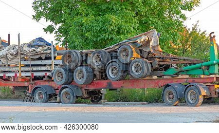 Stacked Flat Bed And Cargo Lorry Trailers Wheels Freight Transport