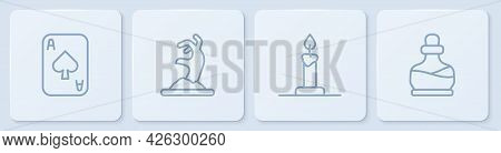 Set Line Playing Cards, Burning Candle Candlestick, Zombie Hand And Bottle With Potion. White Square