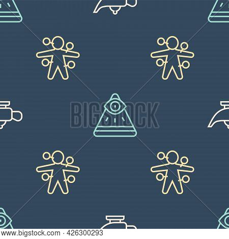 Set Line Magic Lamp Or Aladdin, Voodoo Doll And Masons On Seamless Pattern. Vector