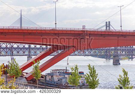 Suspension Bridge Support Columns Over River Sava Belgrade
