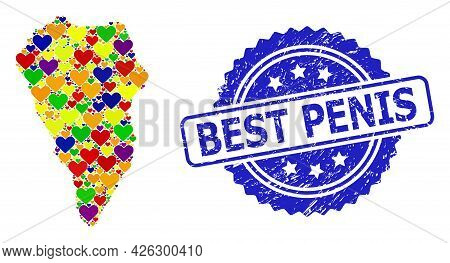 Blue Rosette Rubber Watermark With Best Penis Phrase. Vector Mosaic Lgbt Map Of La Palma Island With