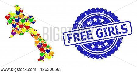 Blue Rosette Rubber Watermark With Free Girls Message. Vector Mosaic Lgbt Map Of Laos Of Lovely Hear