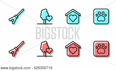 Set Line Shelter For Homeless, Mop, Volunteer Team Planting Trees And Paw Print Icon. Vector