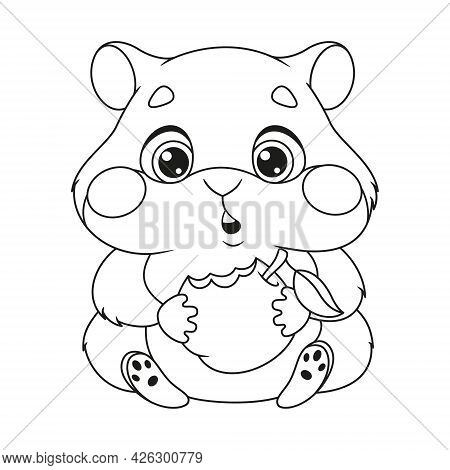 Hungry Hamster Eating Apple Coloring Page. Outline Cartoon Vector Illustration