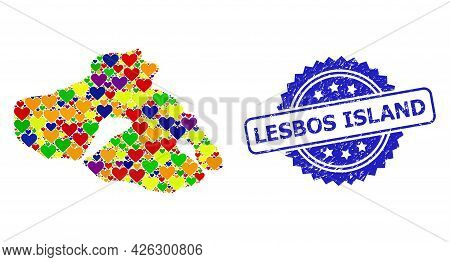 Blue Rosette Textured Seal Imprint With Lesbos Island Title. Vector Mosaic Lgbt Map Of Lesbos Island
