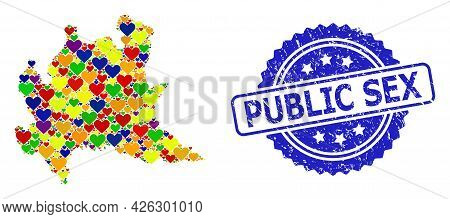 Blue Rosette Scratched Watermark With Public Sex Message. Vector Mosaic Lgbt Map Of Lombardy Region