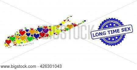 Blue Rosette Scratched Stamp With Long Time Sex Message. Vector Mosaic Lgbt Map Of Long Island With