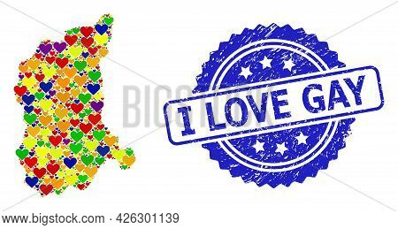 Blue Rosette Textured Watermark With I Love Gay Message. Vector Mosaic Lgbt Map Of Lubusz Province W