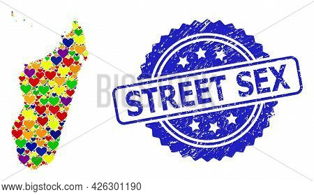 Blue Rosette Scratched Seal Imprint With Street Sex Text. Vector Mosaic Lgbt Map Of Madagascar Islan
