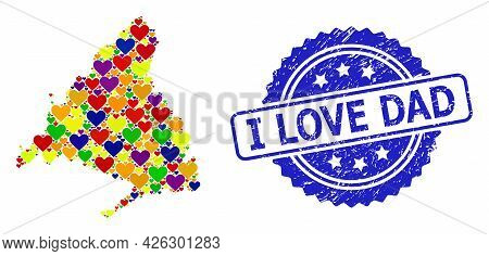 Blue Rosette Rubber Seal Imprint With I Love Dad Text. Vector Mosaic Lgbt Map Of Madrid Province Of