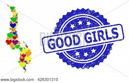 Blue Rosette Distress Seal With Good Girls Phrase. Vector Mosaic Lgbt Map Of Malawi With Lovely Hear