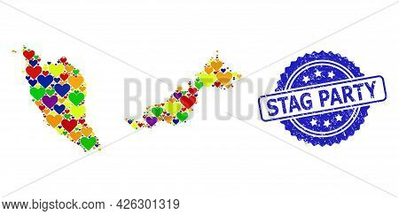 Blue Rosette Grunge Watermark With Stag Party Message. Vector Mosaic Lgbt Map Of Malaysia Of Love He
