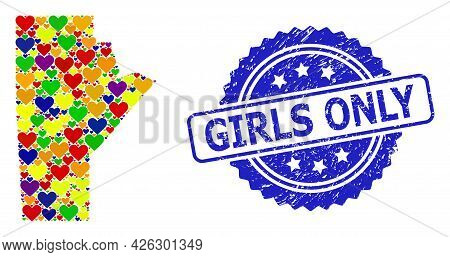 Blue Rosette Rubber Seal With Girls Only Title. Vector Mosaic Lgbt Map Of Manitoba Province With Hea