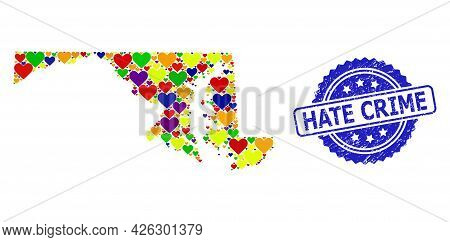 Blue Rosette Rubber Seal Imprint With Hate Crime Text. Vector Mosaic Lgbt Map Of Maryland State With