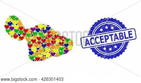 Blue Rosette Grunge Seal With Acceptable Message. Vector Mosaic Lgbt Map Of Maui Island With Lovely