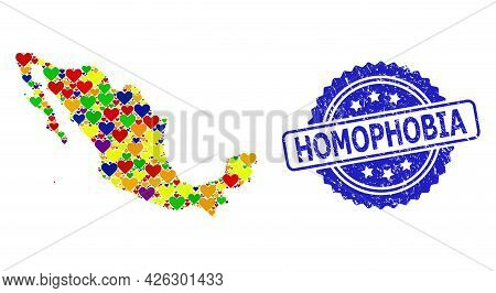 Blue Rosette Grunge Watermark With Homophobia Title. Vector Mosaic Lgbt Map Of Mexico With Love Hear
