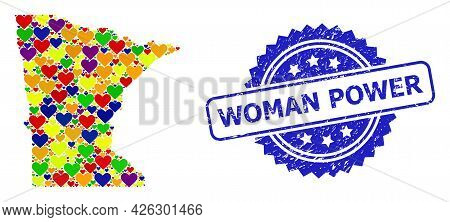 Blue Rosette Distress Seal With Woman Power Caption. Vector Mosaic Lgbt Map Of Minnesota State With