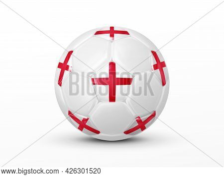 Soccer Ball With The England National Flag Isolated On White Background. Isolated On White. Realisti