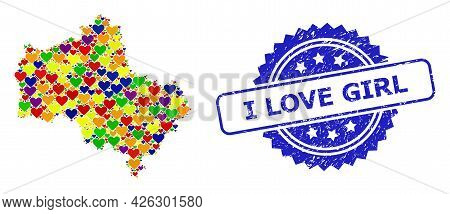 Blue Rosette Scratched Watermark With I Love Girl Text. Vector Mosaic Lgbt Map Of Moscow Region With