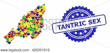Blue Rosette Grunge Stamp With Tantric Sex Title. Vector Mosaic Lgbt Map Of Nagaland State With Love