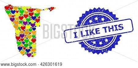 Blue Rosette Textured Seal Imprint With I Like This Caption. Vector Mosaic Lgbt Map Of Namibia With