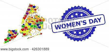 Blue Rosette Grunge Seal Imprint With Women S Day Text. Vector Mosaic Lgbt Map Of New York City With