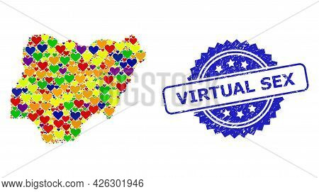 Blue Rosette Rubber Seal With Virtual Sex Phrase. Vector Mosaic Lgbt Map Of Nigeria With Love Hearts