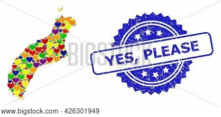 Blue Rosette Distress Seal Stamp With Yes, Please Caption. Vector Mosaic Lgbt Map Of Niihau Island F