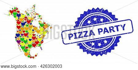 Blue Rosette Textured Seal Stamp With Pizza Party Caption. Vector Mosaic Lgbt Map Of North America O