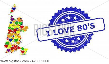 Blue Rosette Grunge Seal Stamp With I Love 80 S Phrase. Vector Mosaic Lgbt Map Of North Holland From
