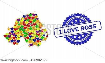 Blue Rosette Grunge Seal Stamp With I Love Boss Caption. Vector Mosaic Lgbt Map Of Northern Ireland
