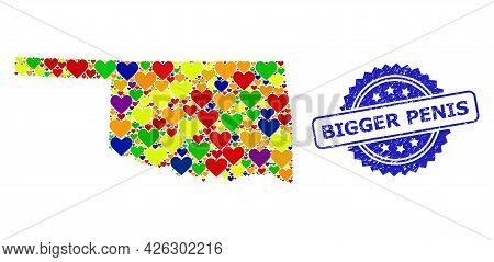 Blue Rosette Scratched Seal Imprint With Bigger Penis Title. Vector Mosaic Lgbt Map Of Oklahoma Stat