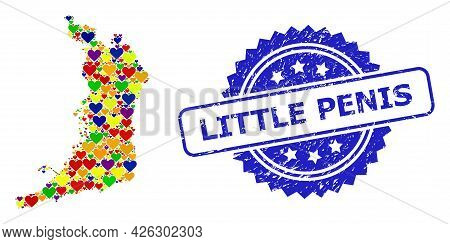 Blue Rosette Rubber Seal With Little Penis Phrase. Vector Mosaic Lgbt Map Of Osaka Prefecture With L