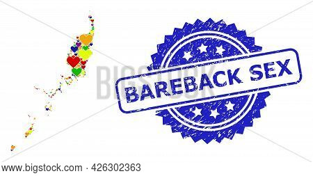 Blue Rosette Scratched Seal Stamp With Bareback Sex Title. Vector Mosaic Lgbt Map Of Palau Islands W