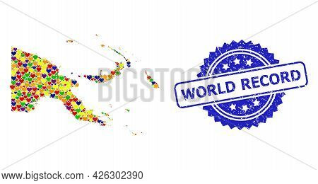Blue Rosette Distress Stamp With World Record Text. Vector Mosaic Lgbt Map Of Papua New Guinea With
