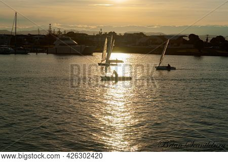 Napier New Zealand - May 30 2015; Small Sailing Yachts Late In Afternoon In Inner Harbour Or Ahuriri