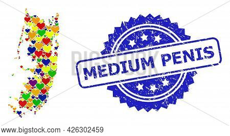 Blue Rosette Textured Seal Stamp With Medium Penis Title. Vector Mosaic Lgbt Map Of Pemba Island Wit