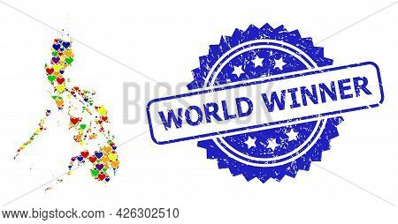Blue Rosette Distress Watermark With World Winner Caption. Vector Mosaic Lgbt Map Of Philippines Wit