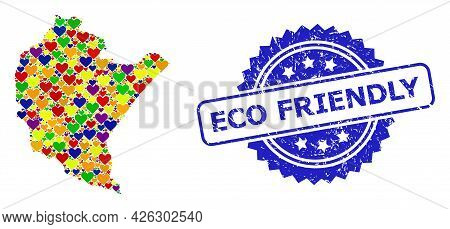 Blue Rosette Distress Watermark With Eco Friendly Message. Vector Mosaic Lgbt Map Of Podkarpackie Pr