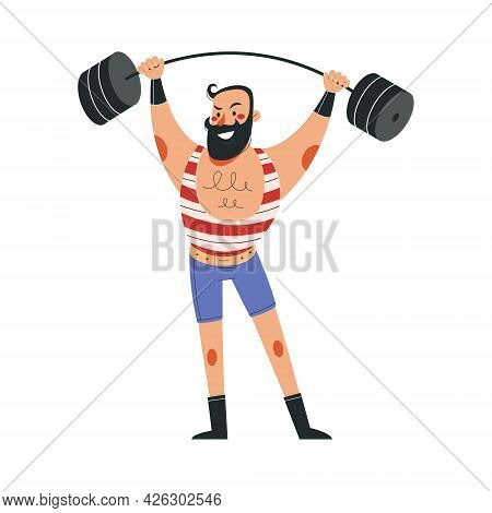 Smiling Male Athlete In Colorful Costume Working In Circus. Concept Of Circus Characters Doing Trick