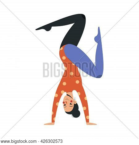 Smiling Female Acrobat In Colorful Costume Working In Circus. Concept Of Circus Characters Doing Tri