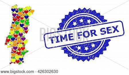 Blue Rosette Textured Seal With Time For Sex Phrase. Vector Mosaic Lgbt Map Of Portugal From Love He
