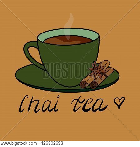 Masala Spiced Chai Tea Vector Illustration Isolated. Green Tea Cup With A Hot Spicy Drink Warm Bever