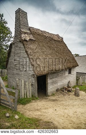 Old Buildings In Plimoth Plantation At Plymouth, Ma. It Was The First Pilgrims Settelment In Nord Am