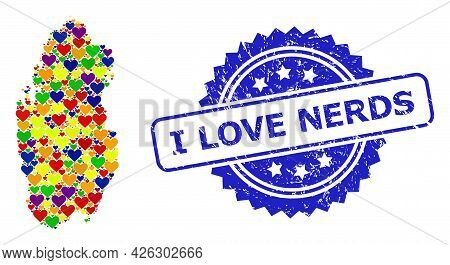Blue Rosette Scratched Seal Stamp With I Love Nerds Text. Vector Mosaic Lgbt Map Of Qatar With Love