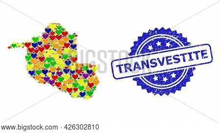 Blue Rosette Distress Seal With Transvestite Text. Vector Mosaic Lgbt Map Of Rondonia State With Lov